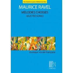 PARTITION RAVEL MELODIES CHOISIES POUR VOIX MOYENNE