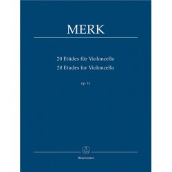 MERK 20 ETUDES POUR VIOLONCELLE BARENREITER BA9411