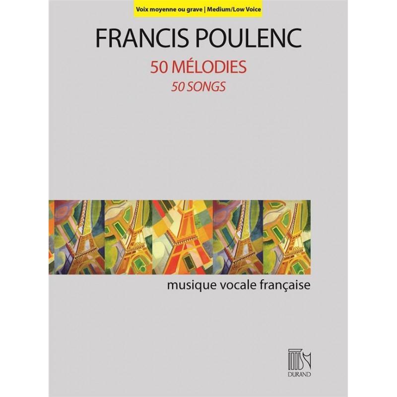 POULENC 50 MELODIES CHANT ET PIANO VOIX GRAVE DF16404