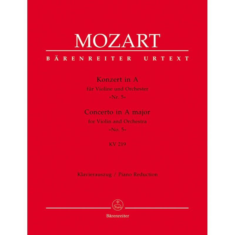 MOZART CONCERTO VIOLON N°5 BARENREITER BA4712A