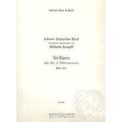 PARTITION SICILIENNE BACH-KEMPFF BWV1031 BB101731 LE KIOSQUE A MUSIQUE