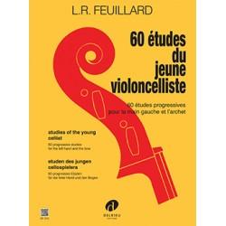 PARTITION VIOLONCELLE FEUILLARD 60 ETUDES DF315 LE KIOSQUE A MUSIQUE