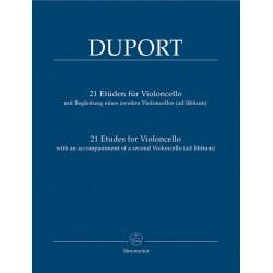 PARTITION VIOLONCELLE 21 ETUDES DE DUPORT BA6980 LE KIOSQUE A MUSIQUE
