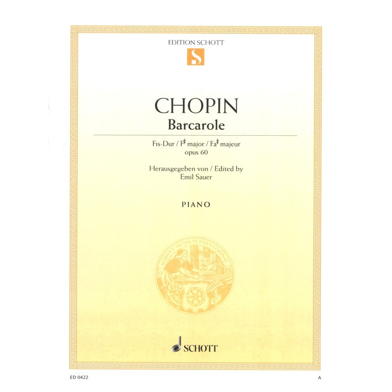 PARTITION PIANO CHOPIN BARCAROLE OPUS 60 ED0422 LE KIOSQUE A MUSIQUE