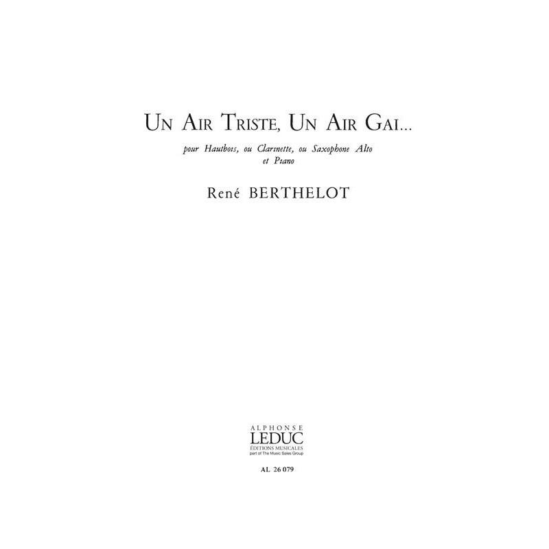 Partition Hautbois René Berthelot Un air triste un air gai AL26079 Le kiosque à musique Avignon