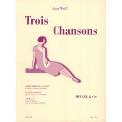 Partition 3 Chansons de Kurt Weill HE33700 Le kiosque à musique Avignon