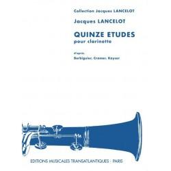 Lancelot 15 études pour clarinette ETR000879 Le kiosque à musique Avignon