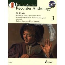 Renaissance recorder anthology 3 ED22930 le kiosque à musique Avignon
