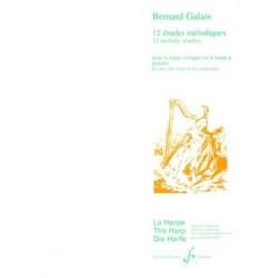 Bernard Galais 12 Etudes mélodiques pour harpe GB6736 Le kiosque à musique Avignon