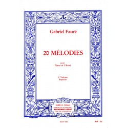 Partition Gabriel Fauré 20 Mélodies soprano volume 2 - Le kiosque à musique Avignon