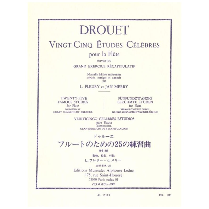 Partition 25 Etudes célèbres de Louis Drouet - Kiosque musique Avignon