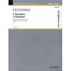 Partition flûte à bec 3 Sonates de Cecchino - Schott - Kiosque musique Avignon