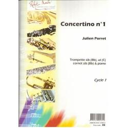 Partition trompette ou cornet - Julien Porret Concertino n°1 - Kiosque musique Avignon