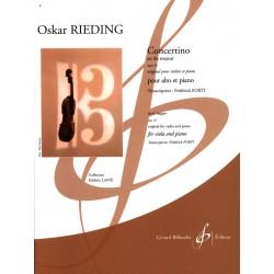 Partition Oskar Rieding Concertino alto Opus 24 - Kiosque musique Avignon